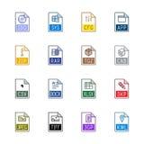 Εικονίδια τύπων αρχείου: Διάφορος - χρώμα Linne Στοκ Φωτογραφίες