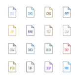 Εικονίδια τύπων αρχείου: Διάφορος - χρώμα Linne UL Στοκ Εικόνες