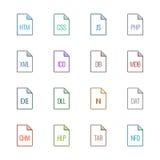 Εικονίδια τύπων αρχείου: Ιστοχώροι και εφαρμογές - χρώμα Linne UL Στοκ Εικόνα