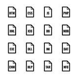 Εικονίδια τύπων αρχείου: Ιστοχώροι και σειρές εφαρμογών †«Bazza UL Στοκ εικόνες με δικαίωμα ελεύθερης χρήσης