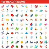 100 εικονίδια υγείας καθορισμένα, isometric τρισδιάστατο ύφος Στοκ Φωτογραφίες