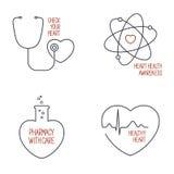 Εικονίδια υγείας καρδιών καθορισμένα διανυσματική απεικόνιση