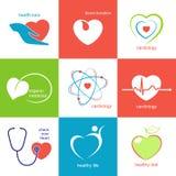 Εικονίδια υγειονομικής περίθαλψης καρδιών Στοκ εικόνα με δικαίωμα ελεύθερης χρήσης