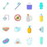 Εικονίδια υγιεινής καθορισμένα, ύφος κινούμενων σχεδίων Στοκ εικόνα με δικαίωμα ελεύθερης χρήσης