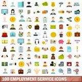 100 εικονίδια υπηρεσιών απασχόλησης καθορισμένα, επίπεδο ύφος διανυσματική απεικόνιση