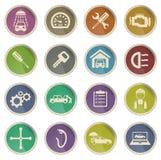 Εικονίδια υπηρεσιών αυτοκινήτων απλά Στοκ Εικόνα