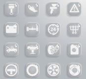 Εικονίδια υπηρεσιών αυτοκινήτων απλά Στοκ Εικόνες