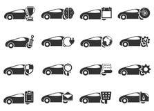 Εικονίδια υπηρεσιών αυτοκινήτων που τίθενται Στοκ Φωτογραφία