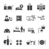 Εικονίδια υπηρεσιών ξενοδοχείων καθορισμένα Στοκ εικόνα με δικαίωμα ελεύθερης χρήσης