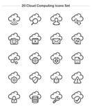 Εικονίδια υπολογισμού σύννεφων καθορισμένα, εικονίδια πάχους γραμμών Στοκ Εικόνα