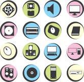 Εικονίδια υπολογιστών στον κύκλο Στοκ Φωτογραφία