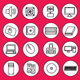 Εικονίδια υπολογιστών στον κύκλο Στοκ εικόνες με δικαίωμα ελεύθερης χρήσης