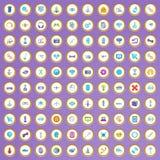 100 εικονίδια υψηλής τεχνολογίας που τίθενται στο ύφος κινούμενων σχεδίων ελεύθερη απεικόνιση δικαιώματος