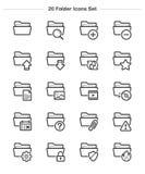 Εικονίδια φακέλλων καθορισμένα, εικονίδια πάχους γραμμών Στοκ φωτογραφία με δικαίωμα ελεύθερης χρήσης