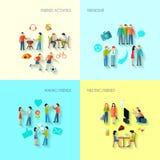 Εικονίδια φιλίας καθορισμένα Στοκ Εικόνες