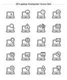 Εικονίδια φορητών προσωπικών υπολογιστών καθορισμένα, εικονίδια πάχους γραμμών Στοκ Φωτογραφίες