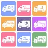 Εικονίδια φορτηγών παράδοσης Στοκ εικόνα με δικαίωμα ελεύθερης χρήσης