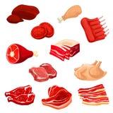 Εικονίδια φρέσκου κρέατος του βόειου κρέατος, χοιρινό κρέας, πουλερικά, πρόβειο κρέας Στοκ φωτογραφίες με δικαίωμα ελεύθερης χρήσης