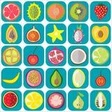 Εικονίδια φρούτων επίπεδα Στοκ Φωτογραφίες
