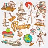 Εικονίδια φυσικής στην απεικόνιση σκίτσων έννοιας επιστήμης στοκ φωτογραφία