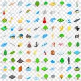 100 εικονίδια φυσικών καταστροφών καθορισμένα, isometric ύφος ελεύθερη απεικόνιση δικαιώματος