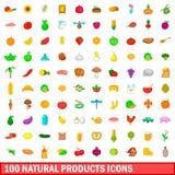 100 εικονίδια φυσικών προϊόντων καθορισμένα, ύφος κινούμενων σχεδίων Στοκ εικόνες με δικαίωμα ελεύθερης χρήσης