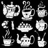 Εικονίδια φλυτζανιών τσαγιού Στοκ Εικόνες