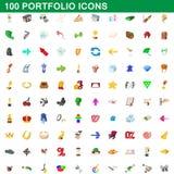 100 εικονίδια χαρτοφυλακίων καθορισμένα, ύφος κινούμενων σχεδίων Στοκ Εικόνα