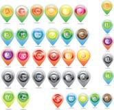 Εικονίδια χαρτών και θέσης και χάρτης εικονιδίων Στοκ φωτογραφία με δικαίωμα ελεύθερης χρήσης