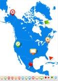 Εικονίδια χαρτών και ναυσιπλοΐας της Βόρειας Αμερικής - απεικόνιση μπλε ετικέτα Στοκ Φωτογραφία
