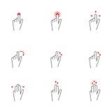 Εικονίδια χειρονομιών αφής Στοκ Εικόνες