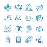 Εικονίδια χορταριών και εναλλακτικής ιατρικής καθορισμένα ελεύθερη απεικόνιση δικαιώματος