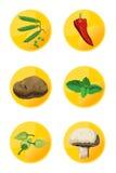 εικονίδια χορτοφάγα Στοκ Εικόνα