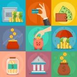 Εικονίδια χρημάτων καθορισμένα διανυσματικά Στοκ Εικόνες