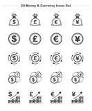 Εικονίδια χρημάτων & νομίσματος καθορισμένα, εικονίδια πάχους γραμμών Στοκ Εικόνες