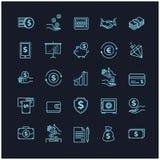 Εικονίδια χρημάτων που τίθενται UI στοιχεία χρημάτων σε ένα μαύρο υπόβαθρο Στοκ εικόνα με δικαίωμα ελεύθερης χρήσης
