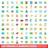 100 εικονίδια χρηματοδότησης και τραπεζικών εργασιών καθορισμένα, ύφος κινούμενων σχεδίων Στοκ εικόνα με δικαίωμα ελεύθερης χρήσης