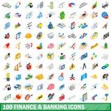 100 εικονίδια χρηματοδότησης και τραπεζικών εργασιών καθορισμένα, isometric ύφος Στοκ Φωτογραφίες