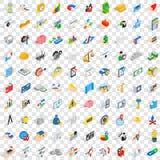 100 εικονίδια χρηματοδότησης και τραπεζικών εργασιών καθορισμένα, isometric ύφος Στοκ φωτογραφία με δικαίωμα ελεύθερης χρήσης