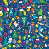 Εικονίδια Χριστουγέννων απλουστευμένο σε έναν ύφος-άνευ ραφής Στοκ φωτογραφία με δικαίωμα ελεύθερης χρήσης