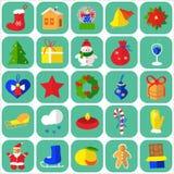Εικονίδια Χριστουγέννων επίπεδα Στοκ Εικόνα