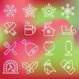 εικονίδια Χριστουγέννων που τίθενται Στοκ Εικόνα