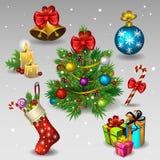 2 εικονίδια Χριστουγέννων απεικόνιση αποθεμάτων