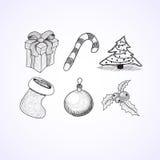 Εικονίδια Χριστουγέννων doodles sketchbook Στοκ Εικόνες
