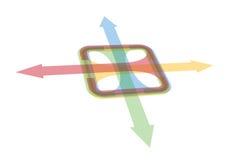 εικονίδια χρώματος ανασκόπησης βελών που τίθενται άσπρα Στοκ Εικόνες