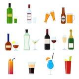 Εικονίδια χρώματος ποτών οινοπνευματωδών ποτών κινούμενων σχεδίων καθορισμένα διάνυσμα διανυσματική απεικόνιση