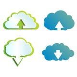 Εικονίδια χρώματος τεχνολογίας σύννεφων διανυσματική απεικόνιση