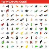 100 εικονίδια όπλων καθορισμένα, isometric τρισδιάστατο ύφος απεικόνιση αποθεμάτων