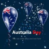 εικονίδια δώρων σημαιών ημέρας μπαλονιών της Αυστραλίας που τίθενται σημαία Στοκ φωτογραφίες με δικαίωμα ελεύθερης χρήσης