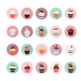Εικονίδια Cupcake καθορισμένα Απεικόνιση αποθεμάτων